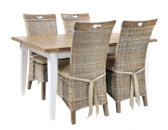 Trebetherick Dining Table & 4 Rattan Chairs - Special Order